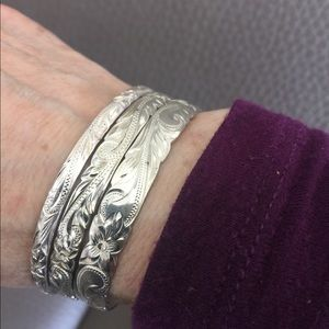 Jewelry - Three Sterling Silver Carved Bangles